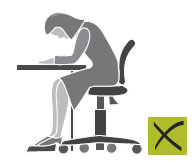 Poor posture may be due to inadequate lighting or uncorrected visual problems